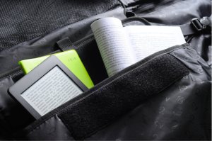 My e-reader and sheet music inside the padded laptop pocket.
