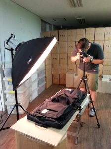 Anton's set up for photographing the Classic 2.0 Garment Bag.