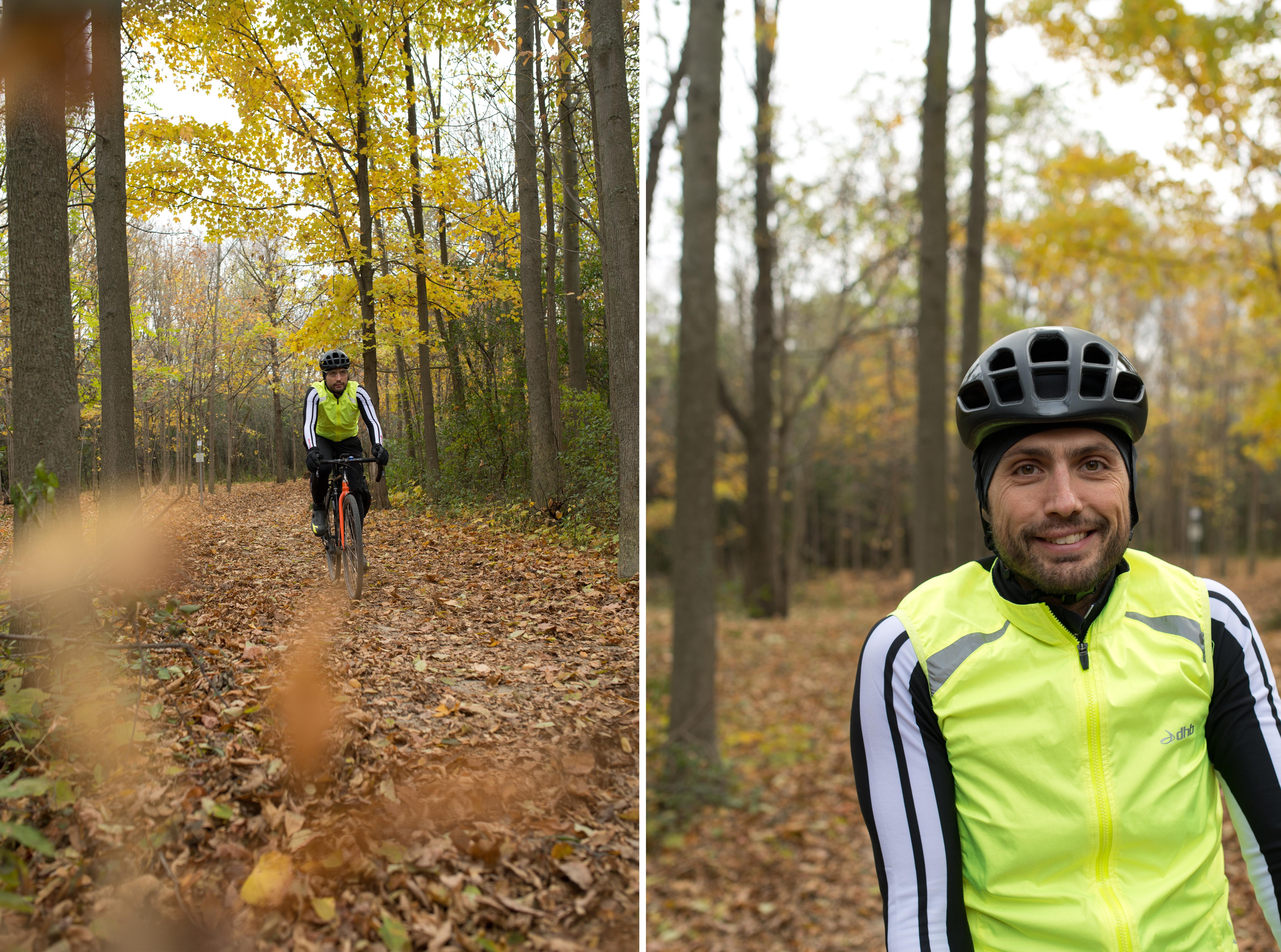 Happy Bike commuter in fall