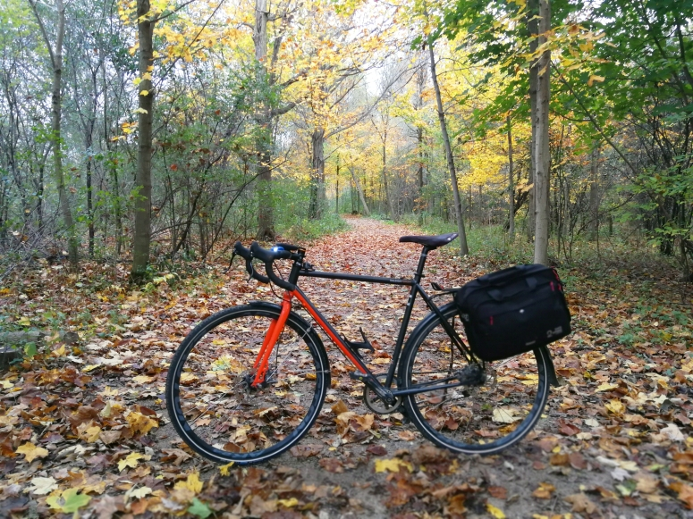 Bike with pannier on trail