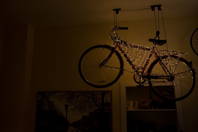 Linus bike lit up for holidays