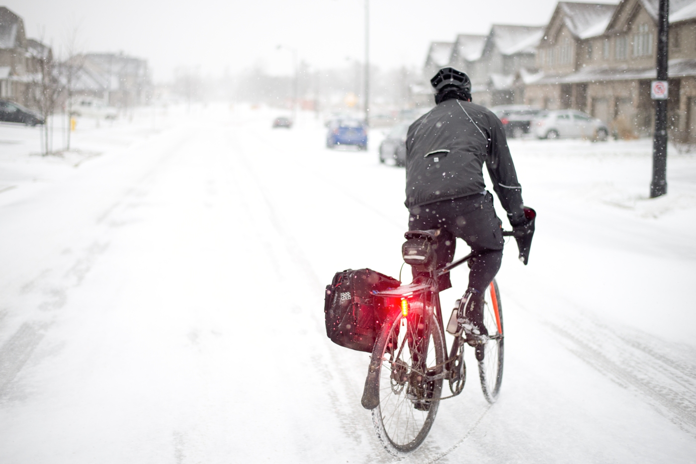 Winter bike commuter with pannier
