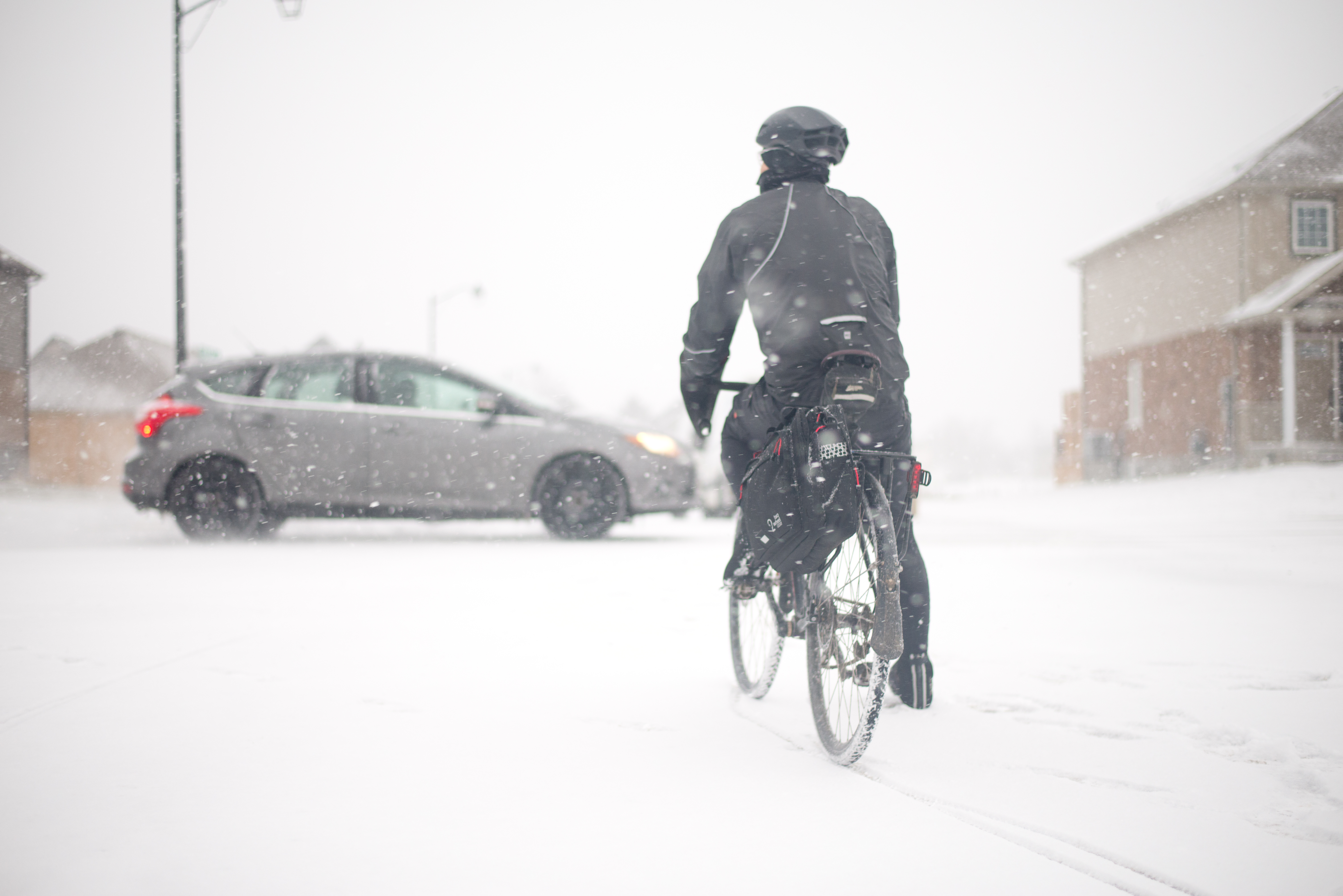 Winter bike commuter with pannier