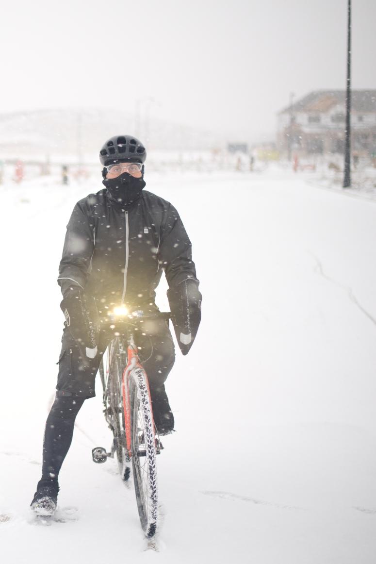 Two Wheel Gear Ambassador Joe Meissner on Bike in Winter