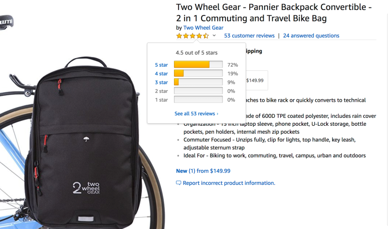 Two Wheel Gear - Pannier Backpack Convertible Reviews