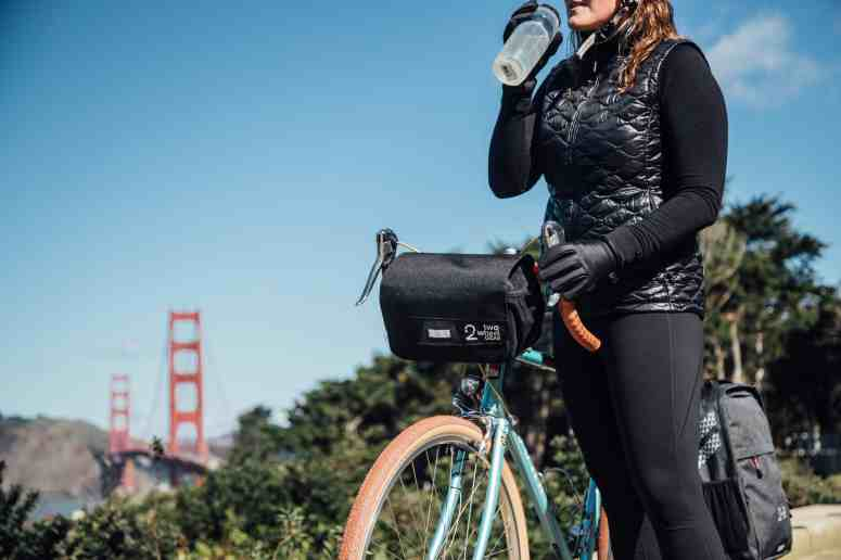 Two Wheel Gear - Mini Messenger Handlebar Bag - Woman commuting in San Francisco
