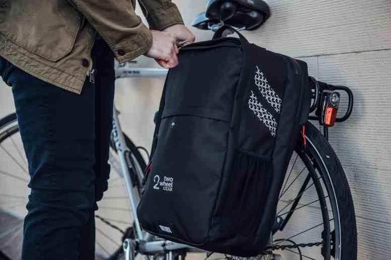 Two Wheel Gear - Pannier Backpack Convertible PLUS+ in Black mounted on bike