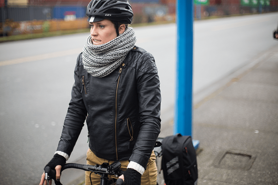 Two Wheel Gear Ambassador Georgia Simmerling on bike in Vancouver