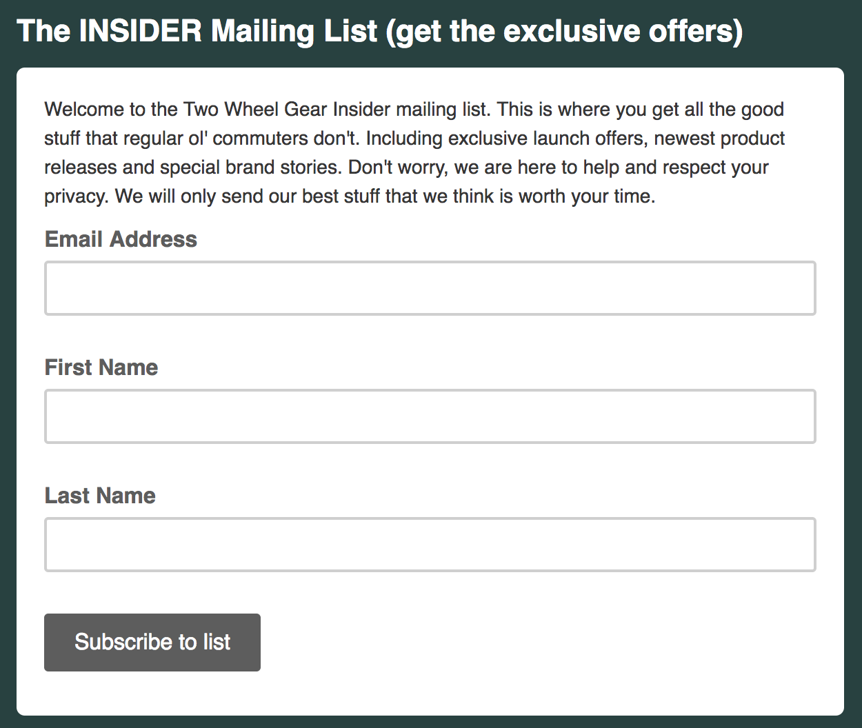 Two Wheel Gear Insider Mailing List Signup