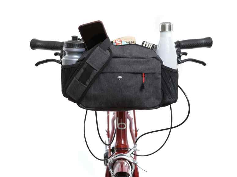 Two Wheel Gear - Mini Messenger Handlebar Bag - Graphite Grey - Mounted on Bike